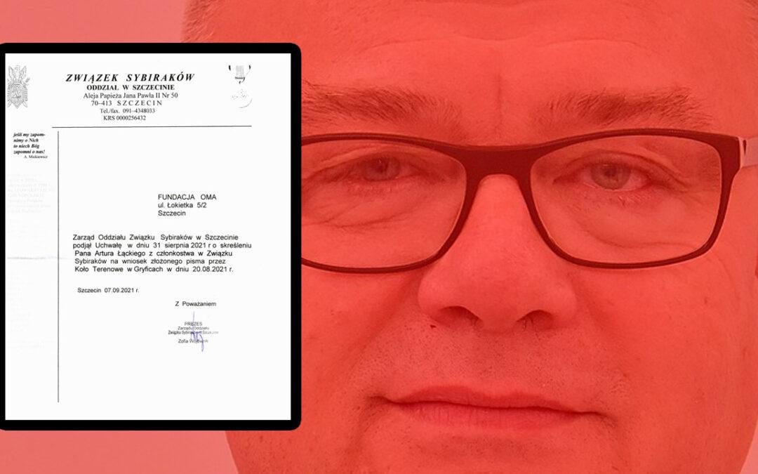 Artur Łącki usunięty ze Związku Sybiraków